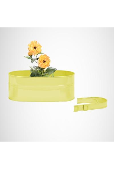 Desen Dekorasyon Askılı Balkon Çiçek Saksı Oval Çiçeklik Metal Sarı