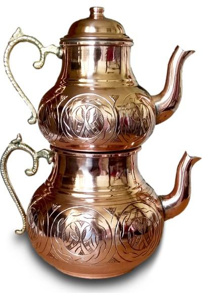 El Yapımı Gaziantep Oyma Işlemeli Bakır Çaydanlık Takımı