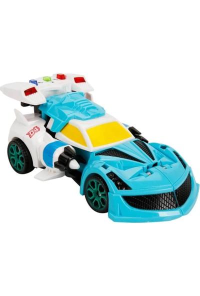 Maxx Wheels Sesli Işıklı Robota Dönüşebilen Araba Mavi