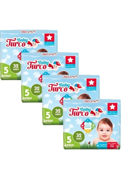 Baby Turco Bebek Bezi Junior 5 Beden 32'li x 4'lü