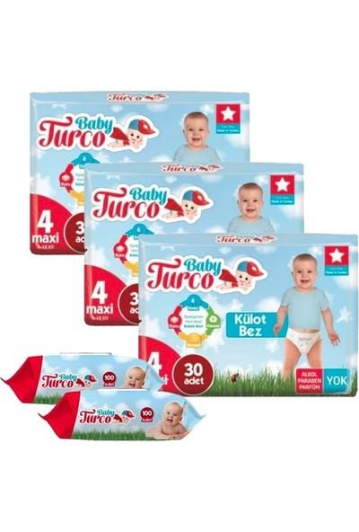 Baby Turco Külot Bebek Bezi 4 No 30'lu x 3'lü - 2'li Islak Havlu
