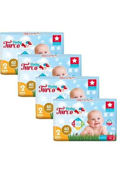 Baby Turco Bebek Bezi 2 Beden Mini 60'lı x 4'lü