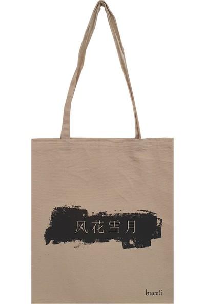 Buceti Çince Baskılı Bez Çanta