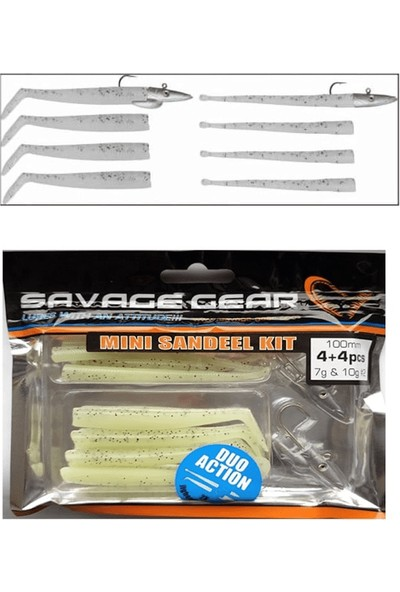 Savagegear Mini Sandeel Kit 10 Adet (12+1+4+4) Suni Yem 10CM - Glow