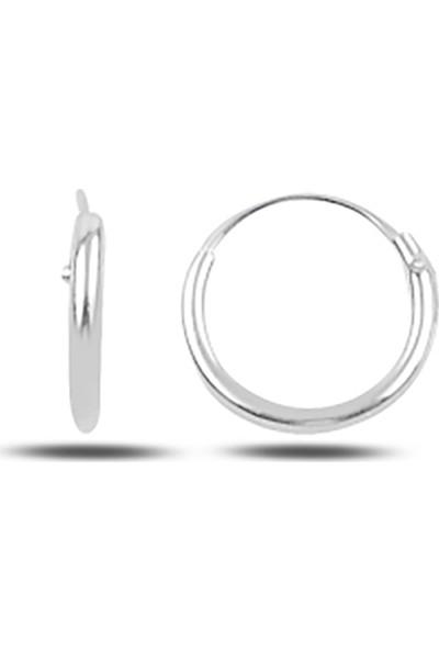 Luxilver 10MM Sade Halka Gümüş Küpe