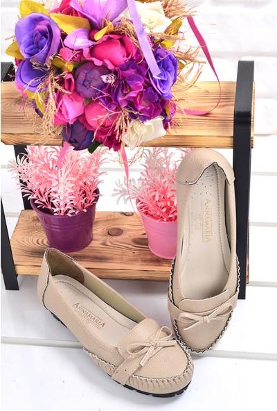 Annamaria V-09 Günlük Büyük Numara Cilt Kadın Babet Ayakkabı
