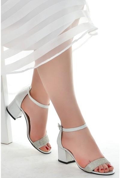 Ayakland 038-03 Taşlı 5 Cm Topuk Kadın Sandalet Ayakkabı