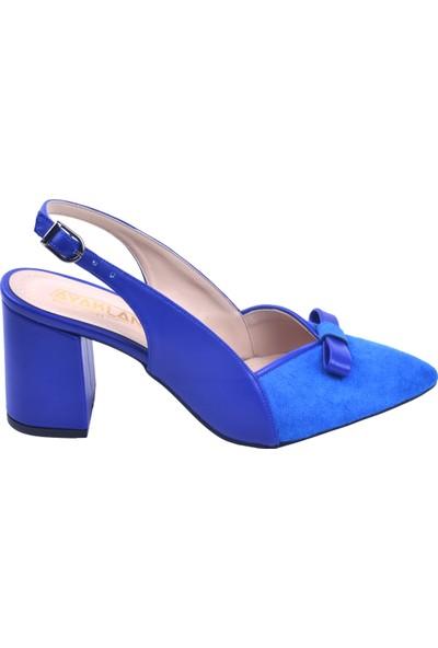 Ayakland 1033 Süet 7 Cm Topuk Kadın Topuklu Sandalet Ayakkabı