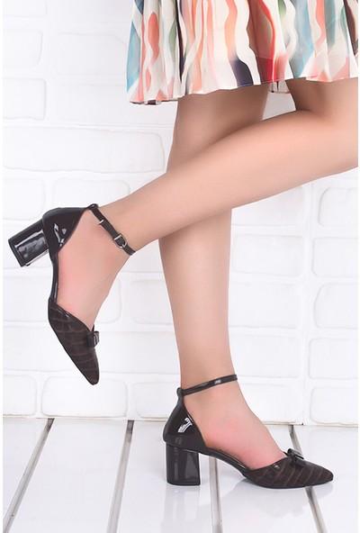Ayakland 1052 Cilt Ekose 5 Cm Topuk Kadın Topuklu Sandalet Ayakkabı