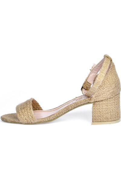 Ayakland 905-62 Hasır 5 Cm Topuk Kadın Sandalet Ayakkabı