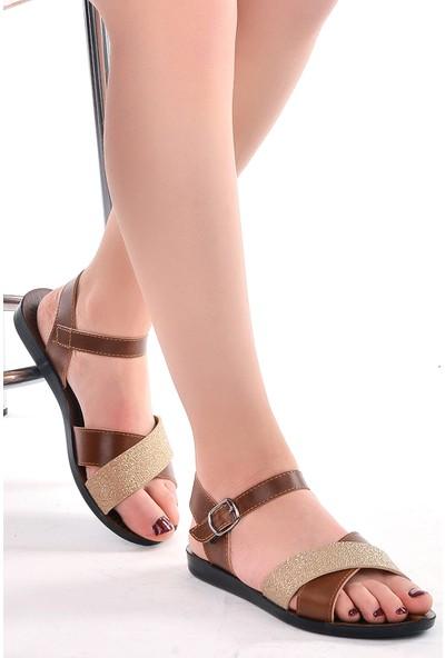Ayakland JSM-58255 Günlük Kemerli Kadın Sandalet Terlik