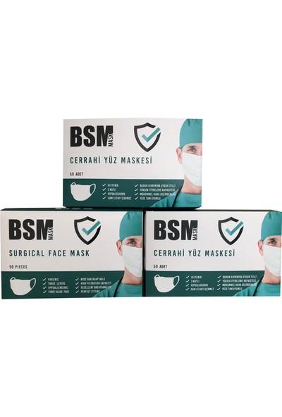 Bsm Tek Kullanımlık 3katlı Telli Cerrahi Maske 50 Adet - 3 'lü