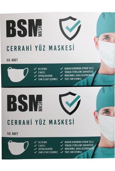 Bsm Tek Kullanımlık 3 Katlı Telli Cerrahi Maske 50 Adet - 2'li