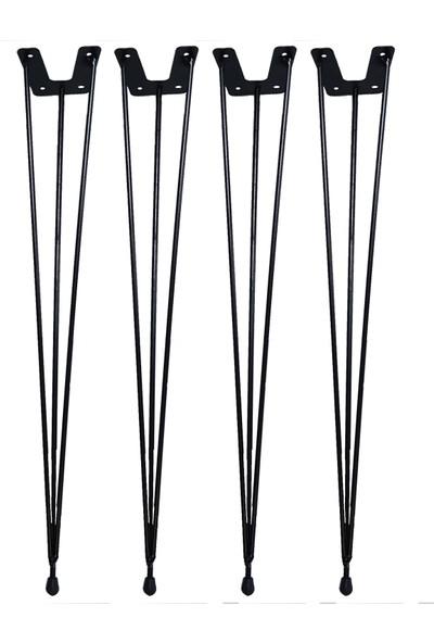 Grande Home Metal Firkete Ahşap Kütük Sehpa ve Masa Ayağı Siyah 4'lü 48 cm