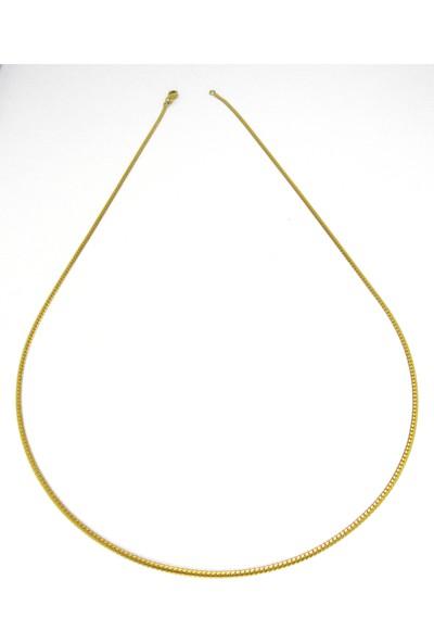 Bijuta Altın Kaplama Zincir Kolye 60 cm Uzunluk 2 mm Genişlik (Model 1)