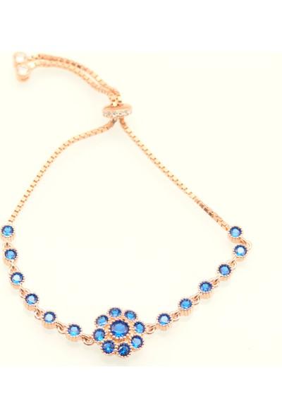 Soylu Mavi Zirkon Taşlı Ithal Güneş Modeli Rose Asansörlü Bayan Gümüş Bileklik