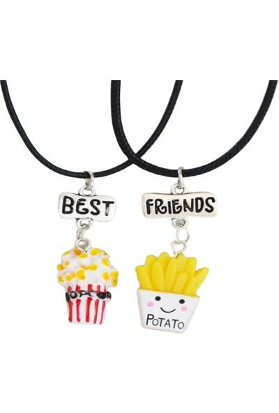 AlpCollection Patlamış Mısır Patates Best Friends 2'li Çift Suni Deri Ipli Kolye