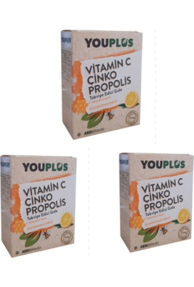 ABDİ İBRAHİM Youplus Vıtamin C & Çinko & Propolis 20 Efervesan Tablet 3 Lü Avantaj Paket
