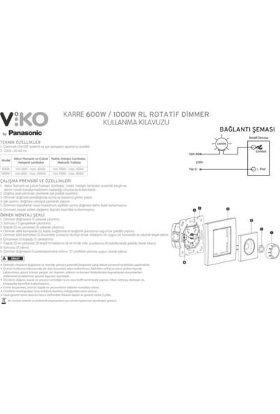 Viko - Karre-Meridian Beyaz R Dimmer Rl 600W Mekanizma + Cerveve Dahil