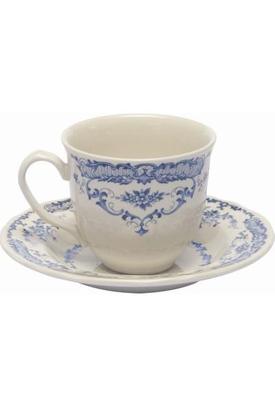 Bitossi Home Porselen Mavi Beyaz Çiçekli Kahve Fincanı ve Tabağı