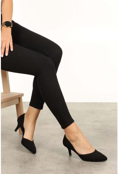Mio Gusto Kadın Rene Siyah Süet Kısa Topuklu
