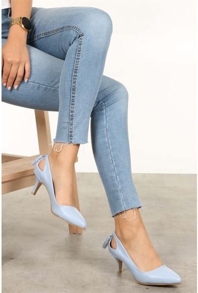 Mio Gusto Kadın Drop Mavi Kısa Topuklu