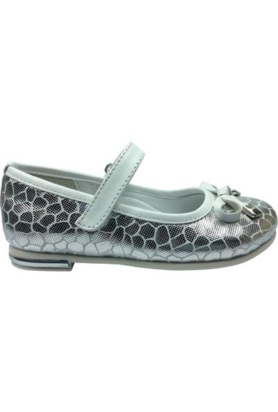 Cici Bebe Tıpış Tıpış Patik Babet Gümüş Petek Desen Kız Çocuk Ayakkabı Cirtli İçi Deri