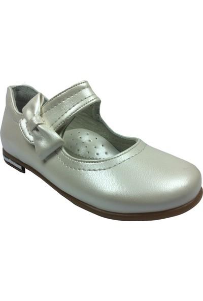Cici Bebe Tıpış Tıpış Patik Babet Krem Ekru 130 Klt Kız Çocuk Ayakkabı Cirtli İçi Deri