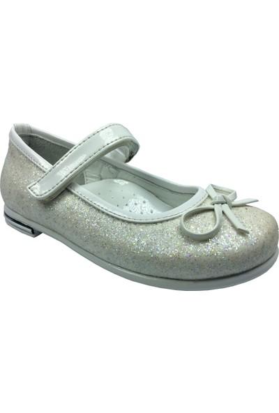 Cici Bebe Tıpış Tıpış Patik Babet Beyaz Kırçıllı Simli Kumaş Kız Çocuk Ayakkabı Cirtli İçi Deri