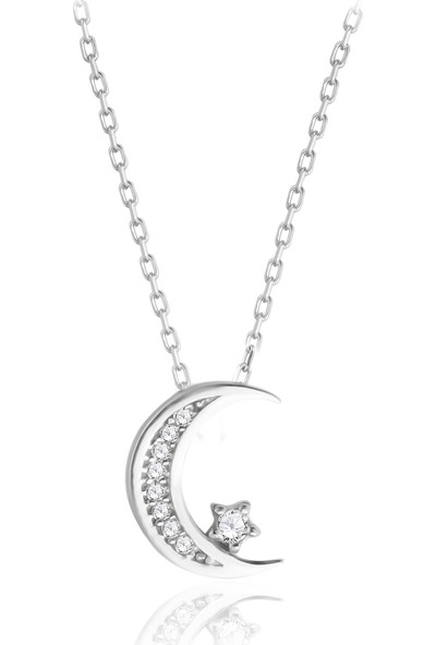 Swarovski JWLCN00000215 Kadın Zirkon Taşlı Ay Yıldız Gümüş Kolye