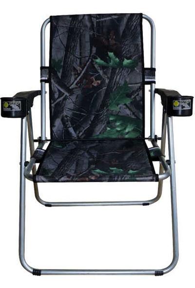 Dolphin Rock Çift Bardaklıklı Orman Desenli Kamp Sandalyesi