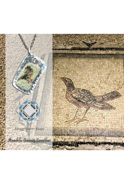 Antik Mozaik Zeugmanın Kuşu Kolye - Akik ve Kuvars Taşlardan 925 Ayar Gümüş Kolye