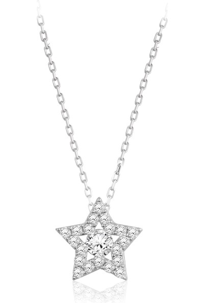 Swarovski Kadın Zirkon Taşlı Yıldız Gümüş Kolye