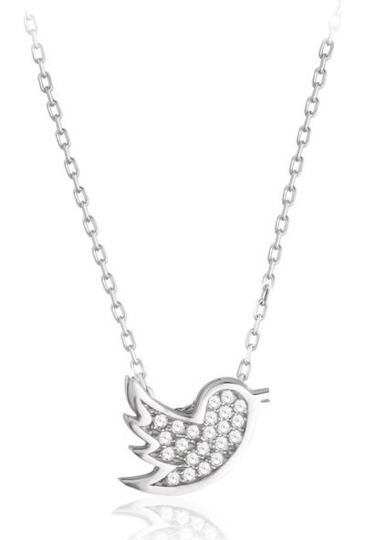 Swarovski Kadın Zirkon Taşlı Kuş Gümüş Kolye