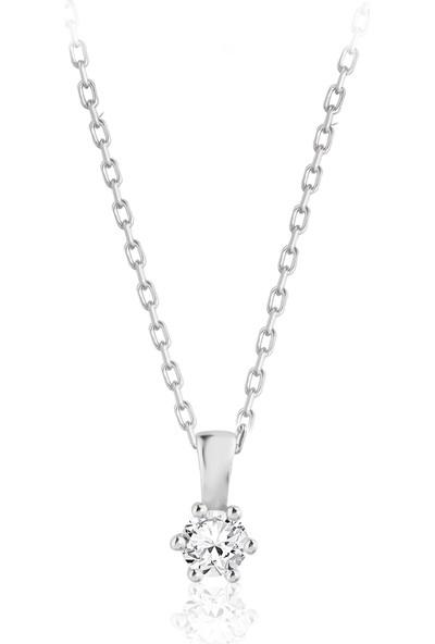 Swarovski Kadın Gümüş Swarovski Tek Taş Gümüş Kolye