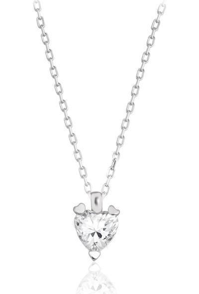 Swarovski Kadın Zirkon Taşlı Kalp Gümüş Kolye