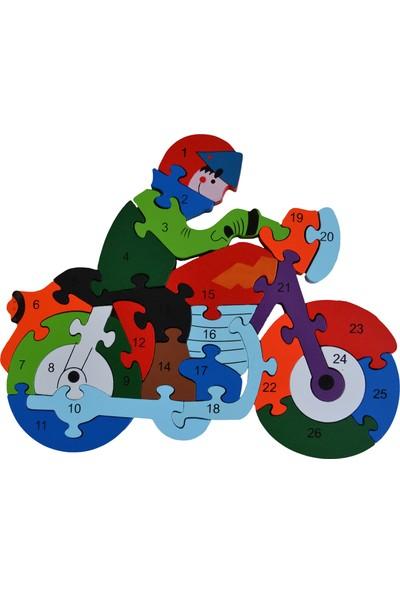 Original Buotique Ahşap İngilizce Harfler Rakamlar Eğitici Biker Motorsiklet Puzzle