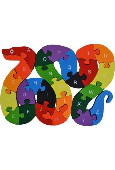 Original Buotique Ahşap İngilizce Harfler Rakamlar Eğitici Snake Sevimli Yılan Puzzle