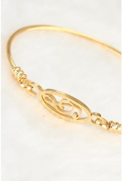 Jewella Gold Çelik Sol Anahtarı Figürlü Erkek Kelepçe Bileklik