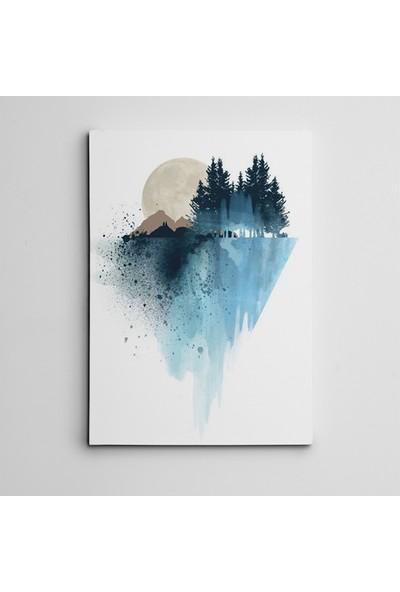 Dekolata Ağaç Toprak ve Dolunay Mini Kanvas Tablo
