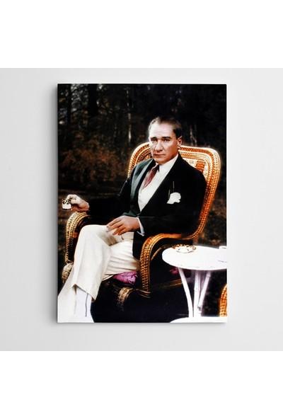 Dekolata Atatürk Tablosu Atatürk Türk Kahvesi İçerken Kanvas Tablo