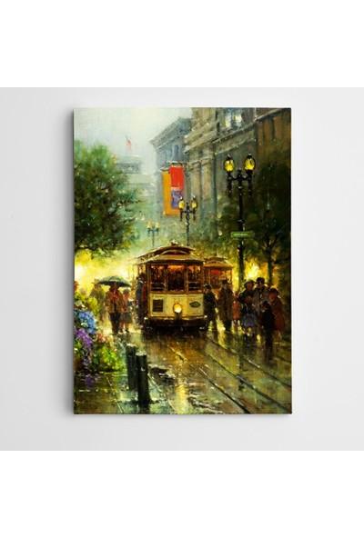 Dekolata Tramvay ve Sokak Modern Sanat Kanvas Tablo