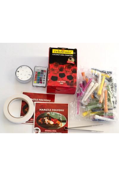 Akdise Nargile Paket 1 Nargile Kömürü,kalem Sipsi,kesilmiş Folyo,nargile Bantı,nargile Uzaktan Kumandalı LED Işık,kömür Maşası