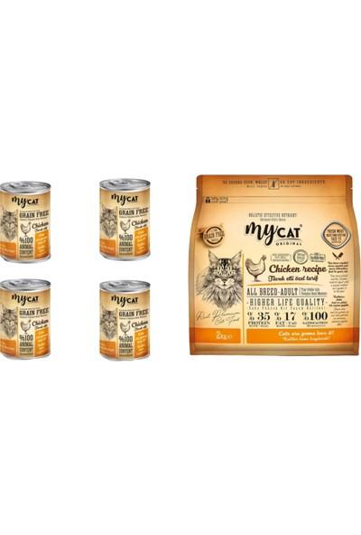 My Cat %70 Tahılsız Tavuklu Kedi Maması 2 kg && 415G 4 Adet Yavru Kedi Konserve