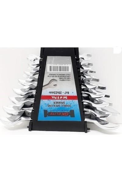 Makro Yapı Parlak Açık Ağız Düz Anahtar Takım 6 - 22 mm 1 Set 8'li