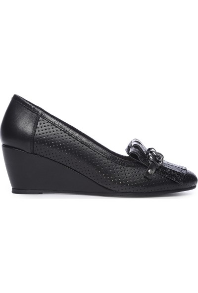 Kemal Tanca Kadın Deri Dolgu Topuklu Ayakkabı