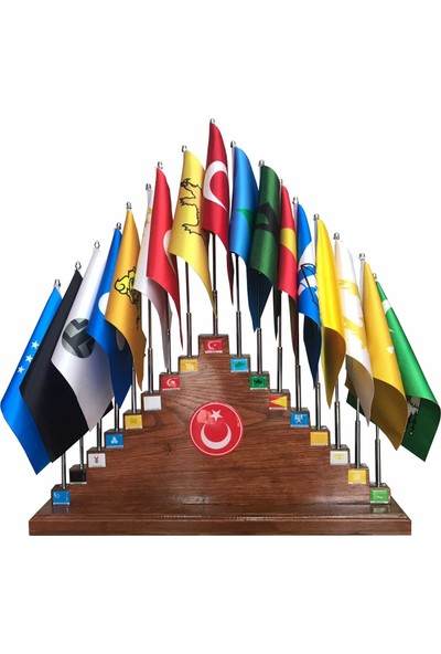 Desen Bayrak Ahşap Kaideli Eski Türk Devleti Bayrakları 17'li