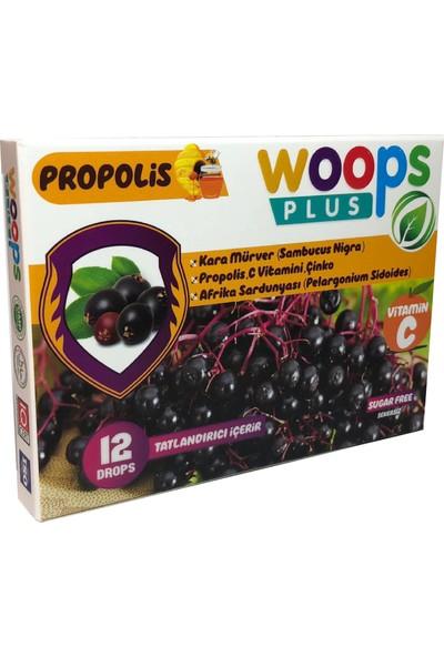 Woops Plus Kara Mürver, Propolis, Afrika Sardunyası, C Vitamini ve Çinko Içeren Portakal Aromalı 12'li Drops Pastil