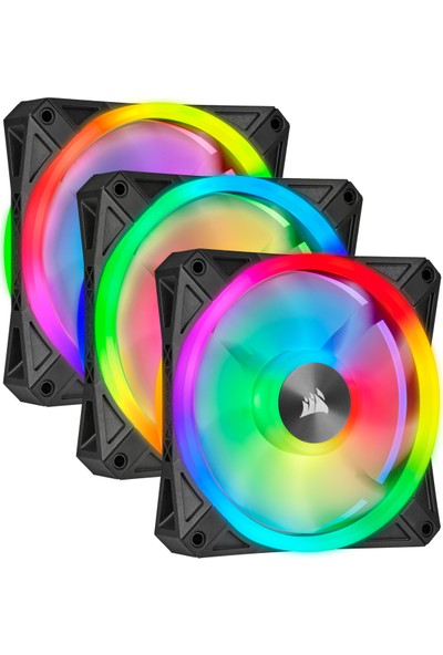 Corsair QL120 RGB 120 mm LIGHTING Node PWM Fan Triple Pack Kasa Fanı CO-9050098-WW