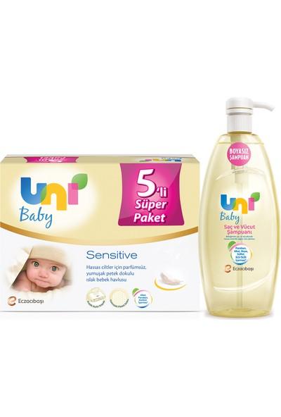 Uni Baby Sensitive Islak Havlu 5'li + Şampuan 700 ml Set